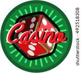 color vintage casino emblem ... | Shutterstock . vector #492518308