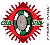 color vintage casino emblem ... | Shutterstock . vector #492518314