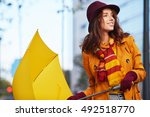 woman in autumn city | Shutterstock . vector #492518770