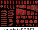 ribbon red vector icon on black ... | Shutterstock .eps vector #492520174