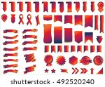 banner red vector icon set on... | Shutterstock .eps vector #492520240
