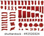 banner red vector icon set on... | Shutterstock .eps vector #492520324