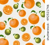 orange and green oranges.... | Shutterstock .eps vector #492521746