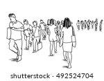 people walking marker sketch | Shutterstock . vector #492524704