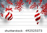 christmas background with fir... | Shutterstock .eps vector #492525373