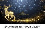 christmas card with silhouette... | Shutterstock .eps vector #492525394