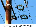 old pylon power in use ... | Shutterstock . vector #492525556