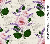 seamless floral pattern with... | Shutterstock .eps vector #492525784