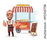 hotdog food truck. street food... | Shutterstock .eps vector #492530758