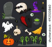 halloween flat icons isolated... | Shutterstock .eps vector #492533860