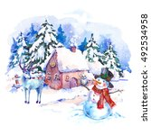 cozy countryside watercolor... | Shutterstock . vector #492534958