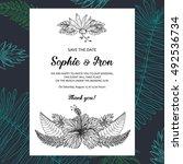 tropical wedding invitation... | Shutterstock .eps vector #492536734