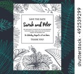 tropical wedding invitation... | Shutterstock .eps vector #492539299