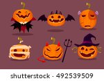 illustration set of halloween... | Shutterstock .eps vector #492539509