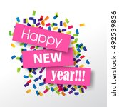 happy new year 2017 with... | Shutterstock .eps vector #492539836