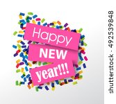 happy new year 2017 with... | Shutterstock .eps vector #492539848