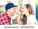 young couple face to face... | Shutterstock . vector #492541054