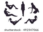 a series of silhouettes of girls | Shutterstock .eps vector #492547066