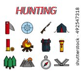 hunting flat icons set.  | Shutterstock . vector #492547318