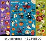 vintage halloween poster design ... | Shutterstock .eps vector #492548500
