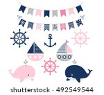 nautical sailing girl set with... | Shutterstock .eps vector #492549544
