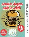 fast food banner illustration.... | Shutterstock . vector #492552484
