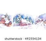 winter countryside watercolor... | Shutterstock . vector #492554134