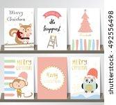 light pink blue love christmas... | Shutterstock .eps vector #492556498
