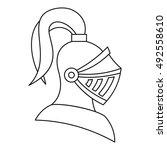 medieval knight helmet icon in... | Shutterstock .eps vector #492558610