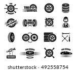 tire service icons and... | Shutterstock .eps vector #492558754