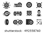 tire service icons and... | Shutterstock .eps vector #492558760