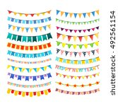 large set of colorful bunting... | Shutterstock . vector #492561154