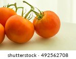 bunch of tomatoes on white top. | Shutterstock . vector #492562708