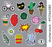 fashion for a girl patch badge. ... | Shutterstock .eps vector #492566380