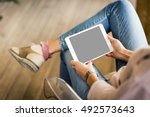 hipster woman hands holding... | Shutterstock . vector #492573643