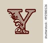 carved flower pattern. elegant... | Shutterstock .eps vector #492580126