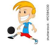a boy playing soccer cartoon... | Shutterstock .eps vector #492584230