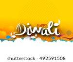 happy diwali text design... | Shutterstock .eps vector #492591508