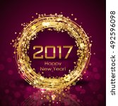 vector 2017 happy new year... | Shutterstock .eps vector #492596098