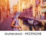 travel to autumn beautiful... | Shutterstock . vector #492596248