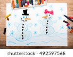 Colorful Drawing  Happy Snowma...