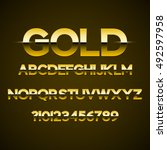 golden font design set on black ... | Shutterstock .eps vector #492597958