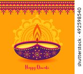 happy diwali festival background | Shutterstock .eps vector #492598540