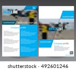 blue annual report brochure... | Shutterstock .eps vector #492601246