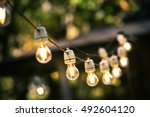 outdoor string lights hanging... | Shutterstock . vector #492604120