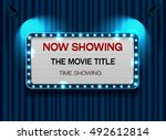 theater sign on curtain light... | Shutterstock .eps vector #492612814