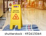 sign showing warning of caution ... | Shutterstock . vector #492615064