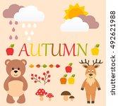 cartoon autumn set with bear... | Shutterstock .eps vector #492621988