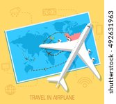 flat travel with airplane... | Shutterstock .eps vector #492631963
