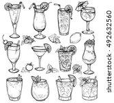 sketch cocktails  alcohol...   Shutterstock . vector #492632560